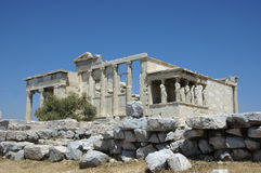 Greek Erecthion with Caryatids Royalty Free Stock Photos