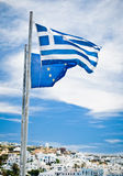 Greek and EU Flags Stock Images