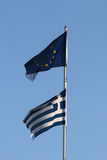 Greek and EU flags together Royalty Free Stock Photography