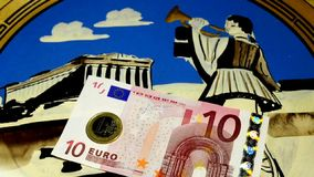 Greek, Euro or Drachma? stock footage