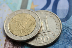 Greek and euro money Royalty Free Stock Images