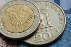 Greek and euro money Royalty Free Stock Photo