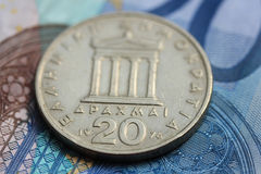 Greek and euro money Royalty Free Stock Photography
