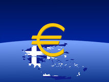 Greek euro symbol on map Stock Photography
