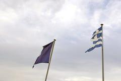 Greek and European flag Stock Photos