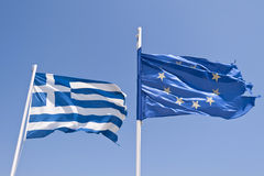 Greek and european flag Royalty Free Stock Images