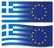 Greek and european flags Stock Image