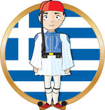 Greek Evzone with Flag Stock Image