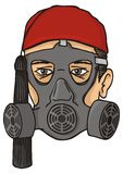 Greek evzone head with gas mask Royalty Free Stock Photo