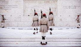 Greek evzone soldiers. At guard change Stock Photography