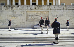 Greek evzones in Athens Stock Image