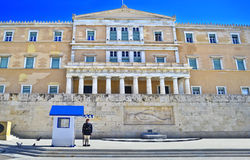 Greek evzones - greek tsolias - guarding the presidential mansion Athens Greece Royalty Free Stock Image