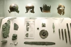 Greek exhibits in museum of archaeology, Athens, Greece. Stock Photos