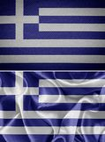Greek fabric flags Royalty Free Stock Photo