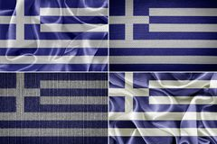 Greek fabric flags Royalty Free Stock Photos