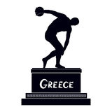 Greek famous statue silhouette Discobolus. Ancient Greece monument symbol Stock Images