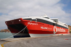 Greek ferry line to stop at the port of Trapani. High-speed catamaran ferries of Hellenic Seaways Flying Cat 3 in Vodafone colors Stock Photos