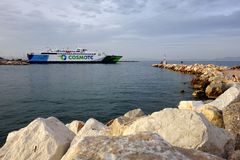 Greek Ferry in Rafina Port Royalty Free Stock Photography
