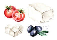 Greek feta cheese block anb cubes, olives and tomatoes. Watercolor hand drawn illustration, isolated on white background.  Stock Photo