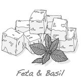 Greek feta cheese block. Greek feta cheese blocks vector Royalty Free Stock Image