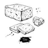Greek feta cheese block drawing. Vector hand drawn food sketch. Slice and cube cut. Greek salad ingredient.r Farm market product for label, poster, icon Stock Image