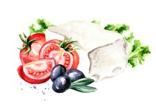 Greek feta cheese block with olives, tomatoes and lettuce. Watercolor hand drawn illustration, isolated on white background. ю Royalty Free Stock Photos