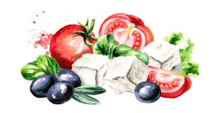 Greek feta cheese cubes with olives and tomatoes. Watercolor hand drawn illustration, isolated on white background. ю Royalty Free Stock Photo