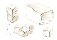 Greek feta cheese set. Watercolor hand drawn illustration, isolated on white background. ю Royalty Free Stock Photo