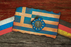 Greek financial crisis Flags concept Royalty Free Stock Images