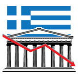 Greek financial crisis graph. Greek financial crisis concept with the Parthenon and Greek flag  illustration Royalty Free Stock Photo