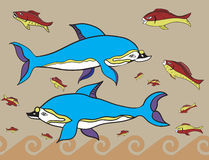 Greek fish. Dolphins and fish in the Greek style royalty free illustration