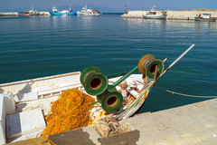 Greek fishing boat at Cyclades islands Royalty Free Stock Photos