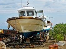 Greek Fishing Boat in Dry Dock royalty free stock photo