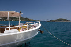 Greek fishing boat in harbor, Greece Royalty Free Stock Images