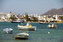 Greek fishing boat sandy beach Pollonia Milos Royalty Free Stock Images