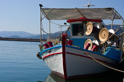 A greek fishing boat in the water Royalty Free Stock Photography