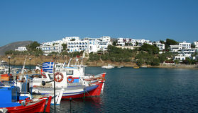 Greek fishing boats harbor cyclades architecture royalty free stock images