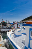 Greek fishing boats on Kalymnos harbour Royalty Free Stock Images