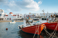 Greek fishing boats in the port Royalty Free Stock Images