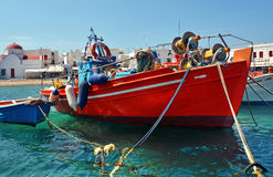 Greek fishing boats in the port Royalty Free Stock Photos
