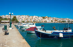 Greek fishing boats in Sitia. Stock Photo
