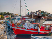 Greek fishing harbour Stock Images