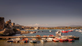 Greek fishing harbour Royalty Free Stock Images