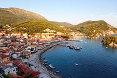 Greek fishing village of Parga, Greece, Europe. Traditional Greek fishing village of Parga, ionian sea, mediterranean sea, Greece, Europe Stock Photos