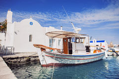 Greek fishing village in Paros, Naousa, Greece. Beautiful Naousa village, Paros island, Cyclades, Greece Royalty Free Stock Images