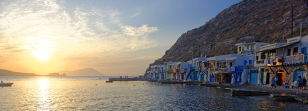 Greek fishing village at sunset - Syrmata Royalty Free Stock Photo
