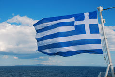 Greek Flag. The Greek flag on a ferry boat stock image