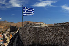 Greek flag. On Myrina castle royalty free stock image