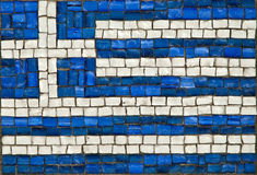 Greek flag. Made of small colored stones stock photos