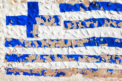 Greek flag. Painted on a wall stock images